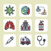 combattre le covid 19 avec des protocoles de santé vecteur