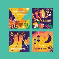 marhaban ya ramadan eid célébration post et carte de médias sociaux vecteur