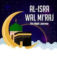al isra wal mi'raj avec les nuances de la nuit vecteur