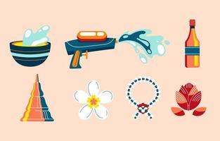 ensemble, de, songkran, festival, coloré, icône vecteur