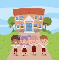 bâtiment scolaire avec des enfants interraciaux vecteur