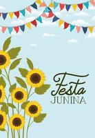 festa junina avec jardin de tournesols et guirlandes vecteur