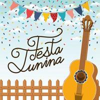 festa junina avec clôture et guitare vecteur