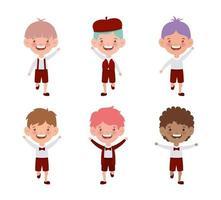 groupe de personnages de jeunes écoliers