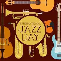 affiche de la journée du jazz avec instruments de jeu