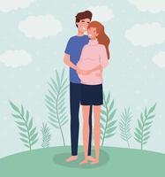 joli couple sur le point d'avoir un bébé vecteur