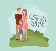 carte de jour de famille avec parents et fille