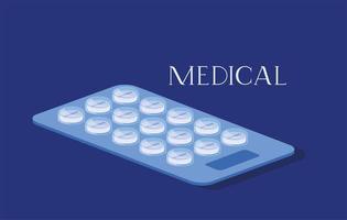 pilules médicales médicaments icône illustration vectorielle vecteur