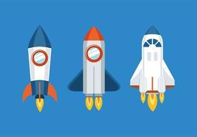 icône de fusée sur la conception de fond bleu vecteur