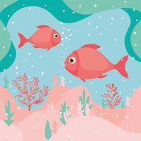 motif d & # 39; algues vivant style corail vecteur