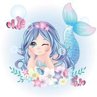 jolie sirène avec illustration aquarelle vecteur