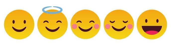 émoticône heureux et sourire ensemble de réaction - vecteur