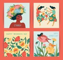 journée internationale de la femme. ensemble d & # 39; illustrations vectorielles avec des femmes mignonnes et des fleurs vecteur