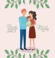 carte de fête de la famille avec les parents et le fils couronne