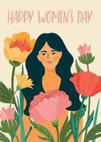 journée internationale de la femme. modèle vectoriel avec femme et fleurs pour carte, affiche, flyer et autres utilisateurs
