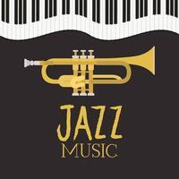 affiche de la journée du jazz avec clavier de piano et trompette vecteur