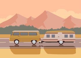 Road Trip Coucher de soleil vecteur