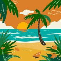 Plage de paysage tropical vecteur