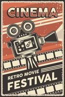 affiche du festival de cinéma rétro de cinéma vecteur