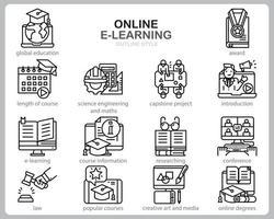 jeu d'icônes d'apprentissage en ligne pour site Web, document, conception d'affiche, impression, application. style de contour d'icône de cours en ligne concept.