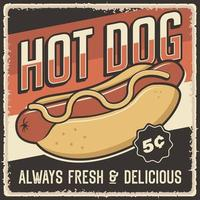 affiche de hot-dog vintage rétro