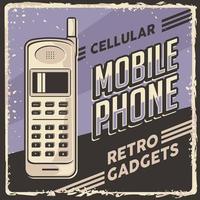 affiche de signalisation de téléphone portable cellulaire de gadgets vintage rétro vecteur