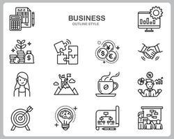 jeu d'icônes d'affaires pour site Web, document, conception d'affiche, impression, application. style de contour icône concept entreprise.