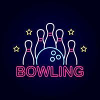 enseigne de bowling au néon vecteur