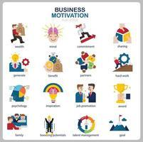 icône de motivation commerciale définie pour site Web, document, conception d'affiche, impression, application. style plat d'icône concept motivation entreprise. vecteur