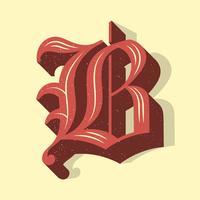 Vecteur de typographie lettre B Vintage