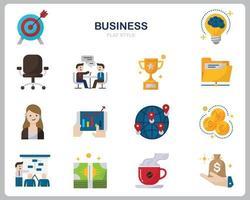 jeu d'icônes d'affaires pour site Web, document, conception d'affiche, impression, application. style plat d'icône de concept d'entreprise.