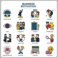 icône de motivation commerciale définie pour site Web, document, conception d'affiche, impression, application. style de contour rempli d'icône de concept de motivation d'entreprise. vecteur
