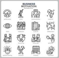 icône de motivation commerciale définie pour site Web, document, conception d'affiche, impression, application. style de contour icône concept motivation entreprise. vecteur