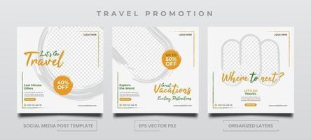 modèles de promotion de voyage pour les publicités sur les réseaux sociaux. vecteur