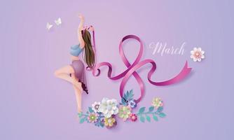 journée internationale de la femme le 8 mars avec cadre de fleurs et de feuilles vecteur