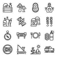 pack d & # 39; icônes linéaires de camping et de pique-nique vecteur
