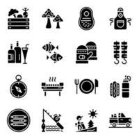 pack d & # 39; icônes solides de camping et de pique-nique vecteur