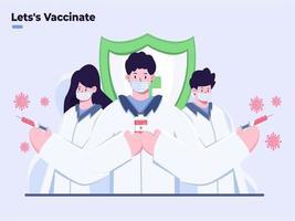 illustration plate du vaccin contre le coronavirus covid-19 prêt à être injecté, le médecin apporte le vaccin covid-19, a découvert le vaccin covid-19, le vaccin prêt pour l'illustration du traitement, met fin à la pandémie de covid-19. vecteur