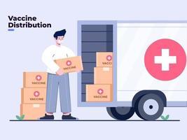 illustration distribution ou livraison de vaccin coronavirus ou covid-19 avec transport par camion. envoi de vaccin covid-19. fin de la pandémie de coronavirus. le gouvernement envoie le vaccin covid-19 aux citoyens. vecteur