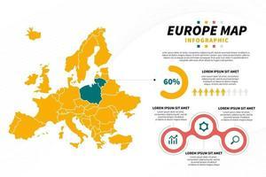 modèle de conception de présentation infographique de carte de l'europe vecteur