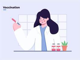 plat illustration médecin apportant le vaccin contre le coronavirus covid-19 avec seringue, le vaccin covid-19 prêt à l'emploi, le moment de la vaccination, la fin de la pandémie de coronavirus, le médicament contre le coronavirus covid-19. vecteur