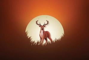 cerf sur le terrain au coucher du soleil vecteur