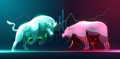 art conceptuel haussier et baissier en bourse ou trading forex vecteur