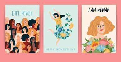 journée internationale de la femme. illustration vectorielle avec des femmes de nationalités et de cultures différentes. vecteur