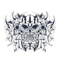illustration d & # 39; illustration crâne encrage vecteur