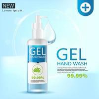 Gel de lavage des mains médical, bouteille transparente en illustration 3d vecteur
