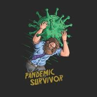 survivant du vecteur d & # 39; illustration de la pandémie de coronavirus