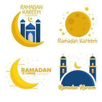 ensemble de ramadan kareem voeux clipart vecteur