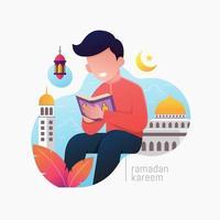 personnes musulmanes lisant l'illustration vectorielle du coran vecteur