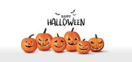 bannière de voeux joyeux halloween avec des citrouilles et des chauves-souris. style de papier découpé vecteur